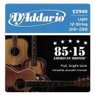 D'Addario EZ 940, struny do git. akustycznej 12-strunowej